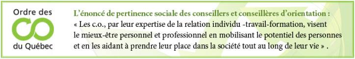 Les c.o., par leur expertise de la relation individu-travail-formation, visent le mieux-être personnel et professionnel en mobilisant le potentiel des personnes et en les aidant à prendre leur place dans la société tout au long de leur vie